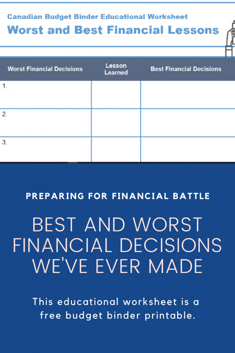 Best And Worst Financial Decisions We've Ever Made (Free Educational Worksheet)