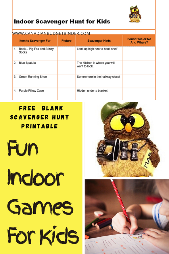 6 Educational and Fun Indoor Games For Kids (Free Scavenger Hunt Printable)