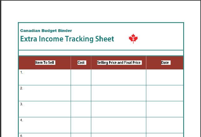 Screenshot de rastreamento de renda extra