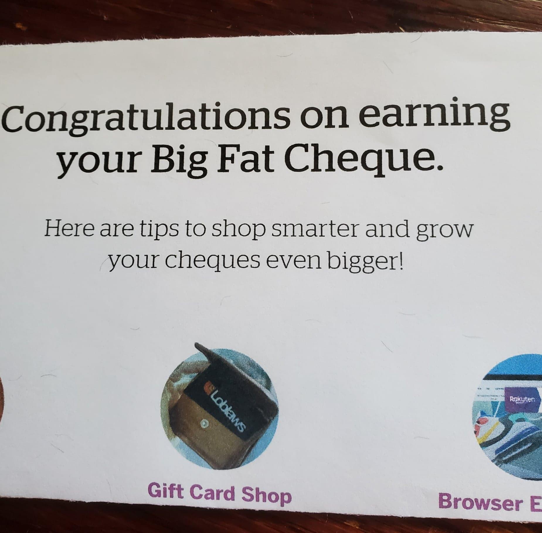 Rakuten Canada Big Fat Cheque