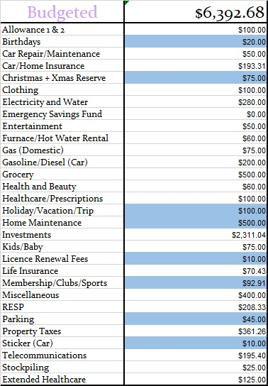 Monthly Budget for August 2020