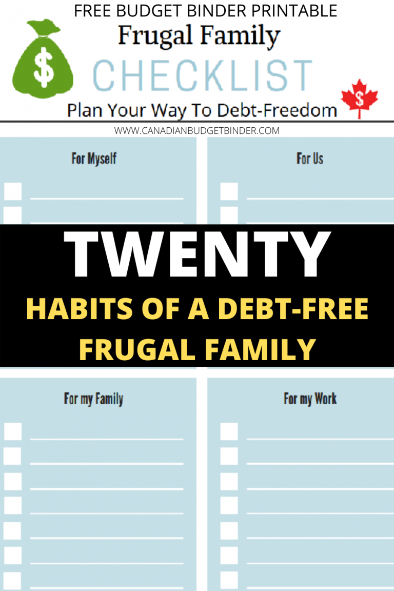 20 Habits Of A Debt-Free Frugal Family (Free Budget Binder Printable)