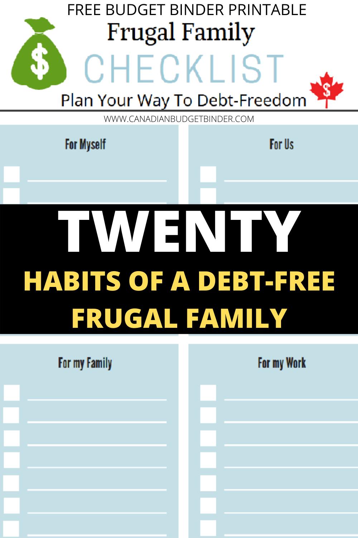 frugal living checklist
