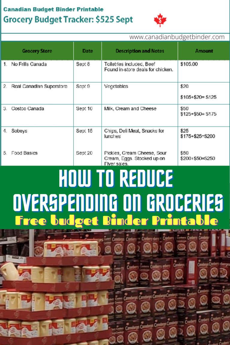 How To Reduce Overspending On Groceries: Grocery Spending Tracker (Free Budget Binder Printable)