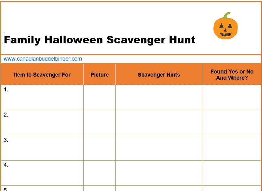 scavenger hunt halloween