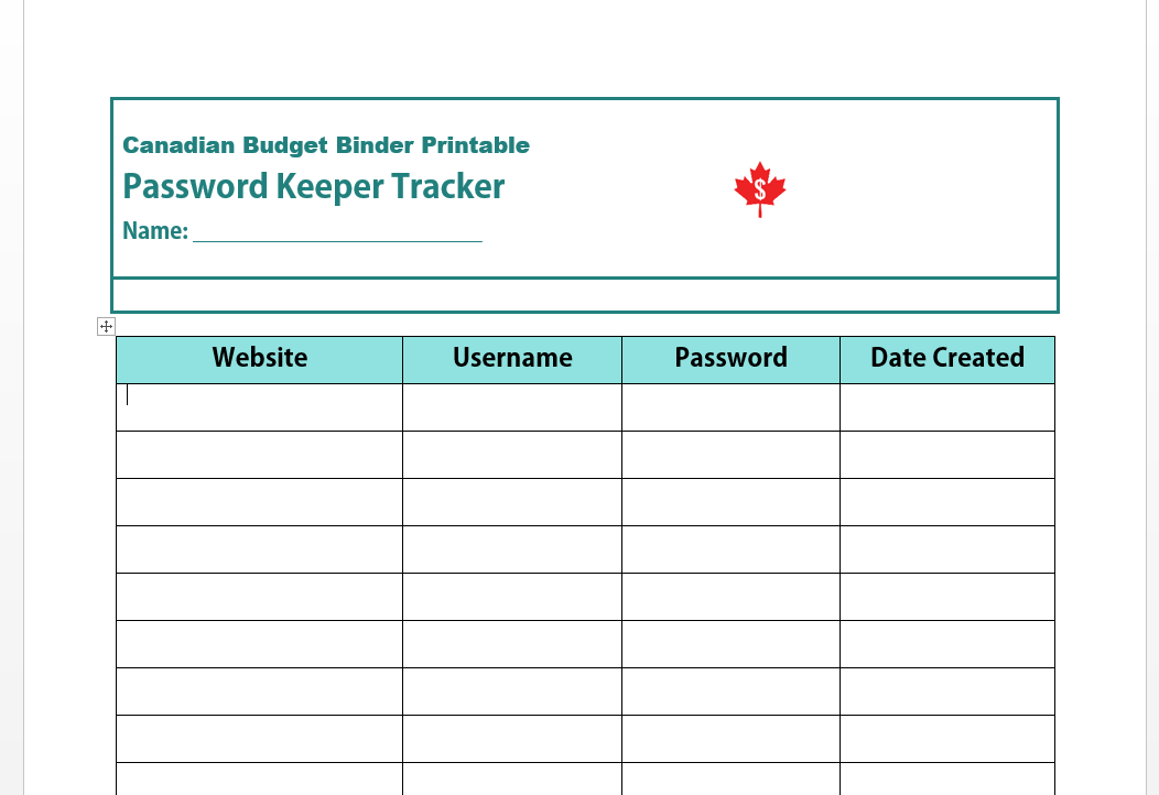 Free Password Manager printable