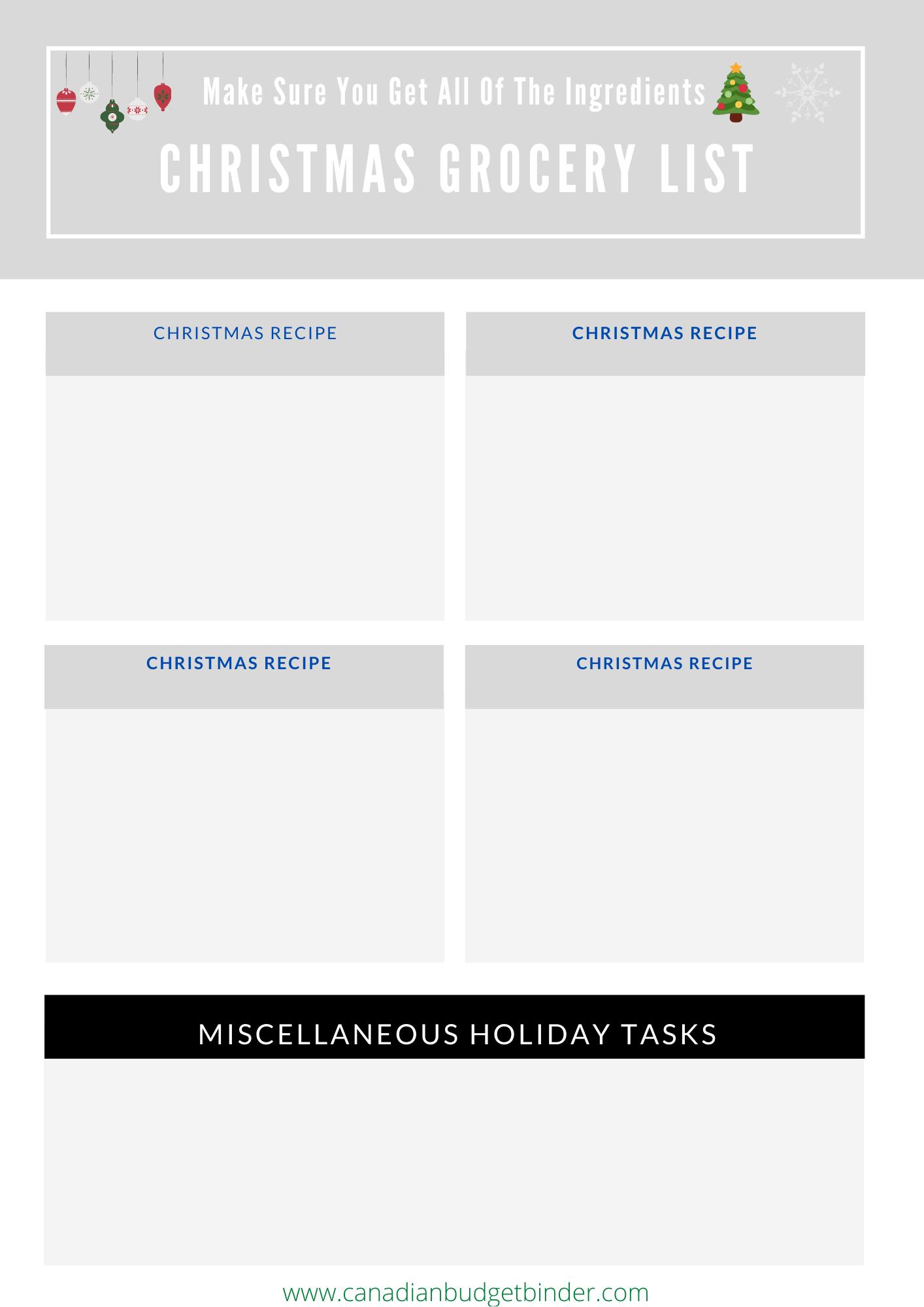 Christmas Ingredients List