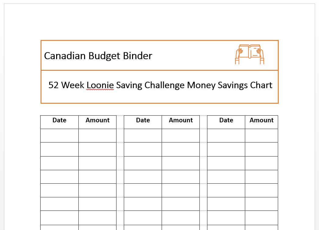 loonie savings challenge