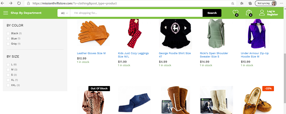 Online thrift shopping