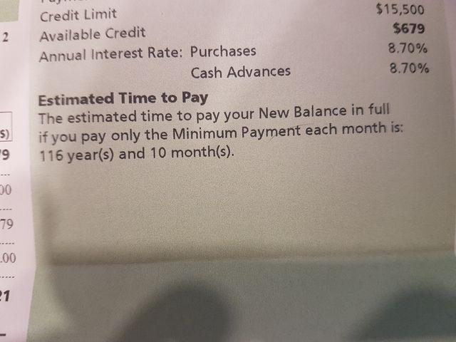 minimum payment credit card