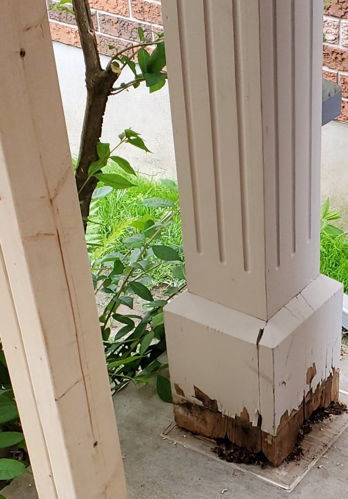 A rotting porch post is inexpensive to replace and an easy update for your front porch. Make sure to seal around the top and bottom and that it is attached to the home.