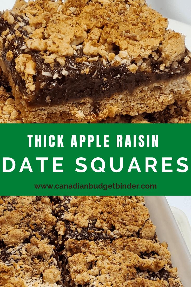 Thick Apple Raisin Date Squares