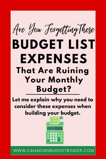 budget list ideas