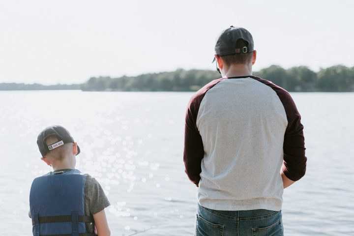 Father and son fishing for Father's Day 2021.