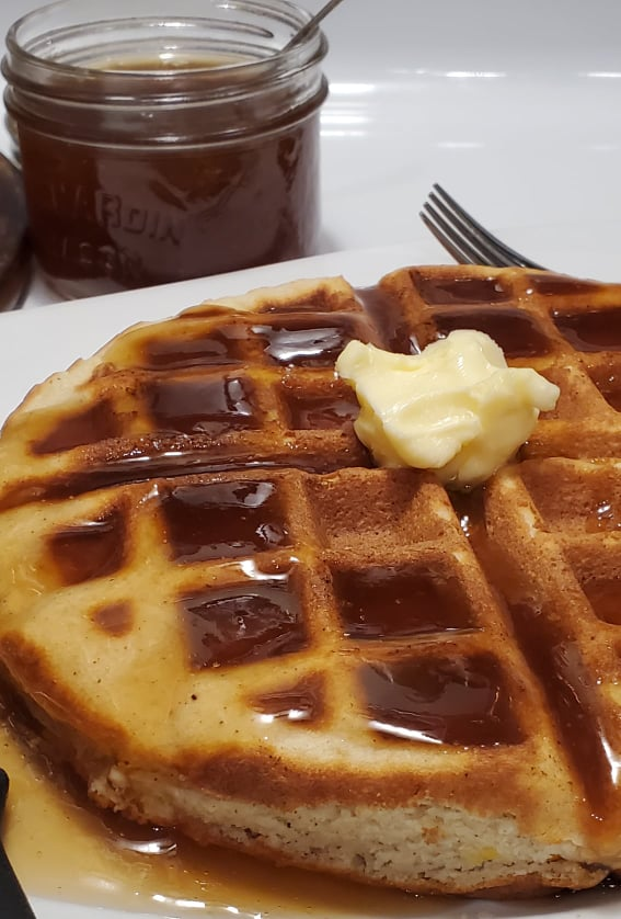 Keto Maple Syrup with Chaffle Waffles