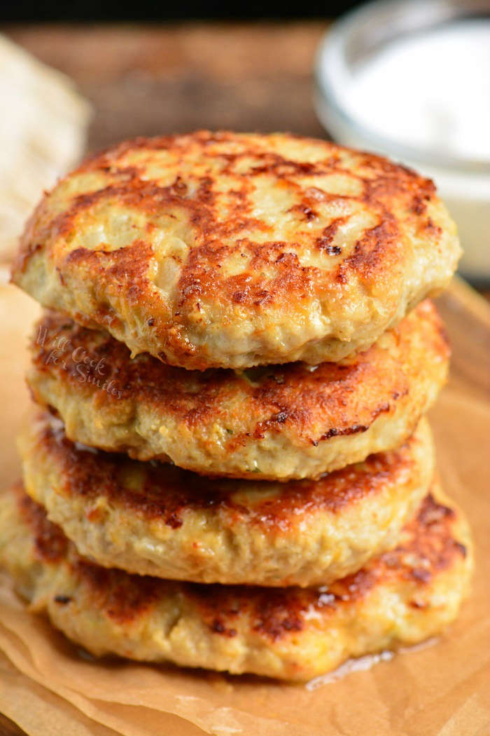 Chicken burgers made with ranch seasoning and cheddar cheese.