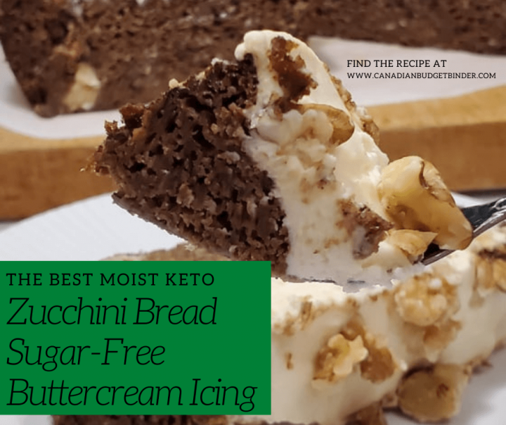 Keto Zucchini bread with sugar-free buttercream frosting and walnuts