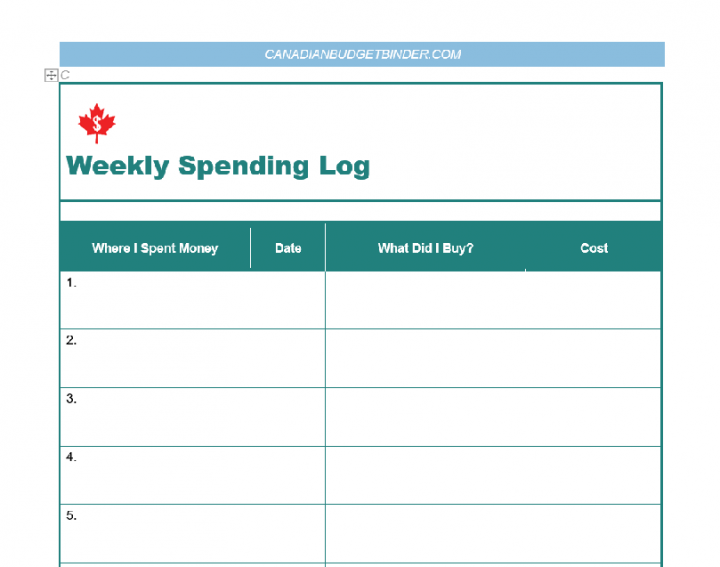 Weekly Spending Lot Screenshot (see bottom of post for free download)
