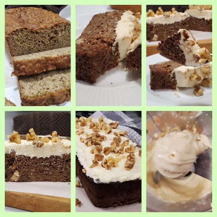 How to make keto zucchini bread with sugar-free buttercream frosting and walnuts.