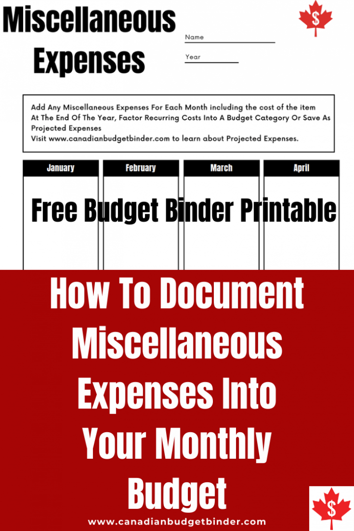 How To Budget Miscellaneous Expenses and track them for the year. Free Budget Binder Printable to track your miscellaneous expenses.