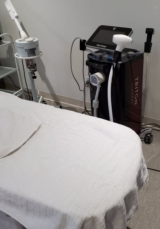 Laser Hair Removal with Triton at Ontario spa and dermatologist. Hair removal due to folliculitis