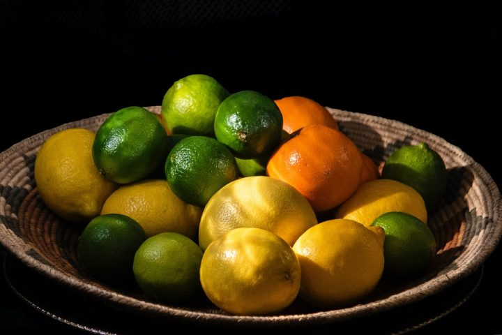 Basket of Oranges, lemons, limes that contain Limonene citrus which causes an allergy for some people.
