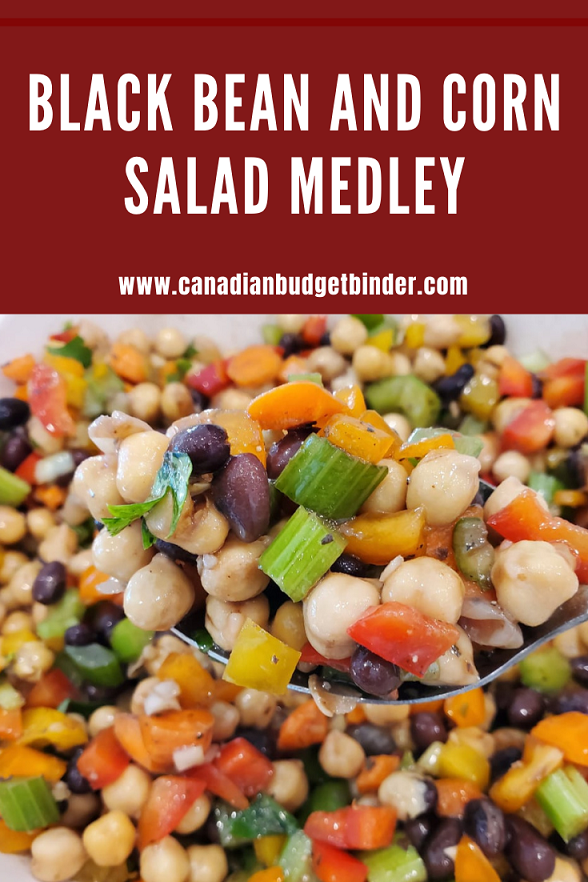 Fresh Black Bean and Corn medley with chickpeas salad.