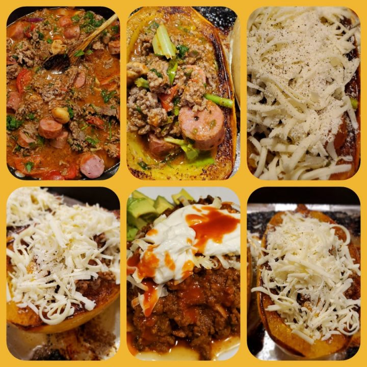 How To Bake Spaghetti Squash stuffed with a Meat Sauce then Broiled With lots of gooey cheese.