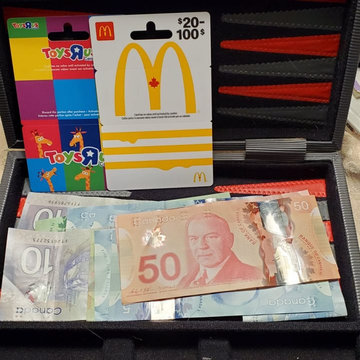 Our son has a money suitcase that we keep in the safe