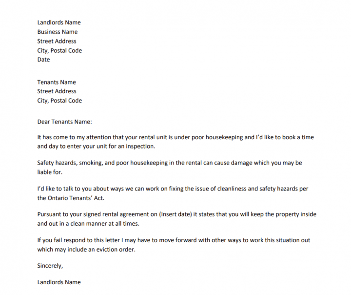 Screenshot Letter To Tenant From Landlord About Poor Housekeeping